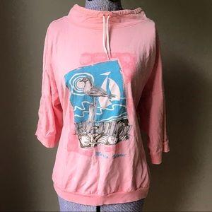 Vtg 90s Beach T-shirt sz M souvenir mockneck
